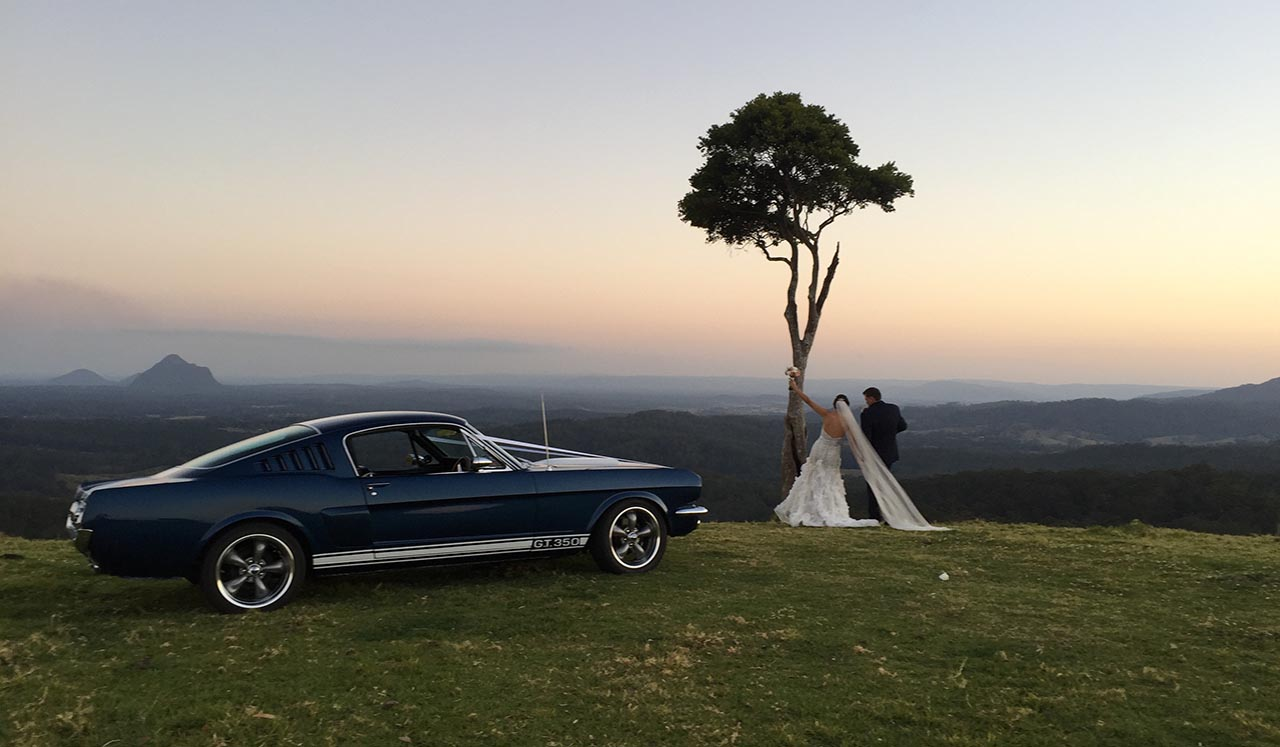 Blue Shelby 1965 Mustang Fastback - 4 beautiful bridal models, wedding expo Montville Sunny Coast